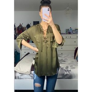 Guess Lace Up Dressy Top